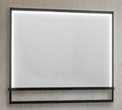 B-Stone Saval zwart RVS spiegel met LED-verlichting en spiegelverwarming 100x70cm