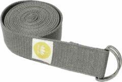 Antraciet-grijze Lotuscrafts Yoga Riem Antraciet - 100% BIO katoen (KBA) - GOTS - voor betere rek - voor beginners en gevorderden - yogariem met metalen sluiting [250 x 3,8 cm] - yoga belt - yoga gordel - yoga strap - stretch strap