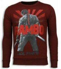 Rode Local Fanatic Rambo - Rhinestone Sweater - Bordeaux Sweaters / Crewnecks Heren Sweater Maat XL