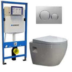 Douche Concurrent Geberit UP 320 Toiletset - Inbouw WC Hangtoilet Wandcloset - Daley Sigma-20 Mat/Glans Chroom