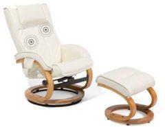 Beliani Fauteuil beige kunstleer met massagefunctie en voetenbank MAJESTIC