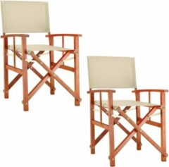 Creme witte Merkloos / Sans marque Regiseursstoel crème, set van 2, klapstoel, vouwstoel, duurzaam, eucalyptushout, waterafstotend stof, klapstoel