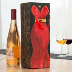 Merkloos / Sans marque Cadeau Tas voor Fles - Rode Jurk