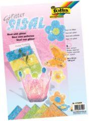 Folia Sisalpapier Glitter Pastel (oranje citroengeel lichtgroen roze lichtblauw)