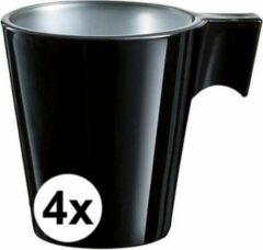 Luminarc 4x Espresso kopje zwart - Zwart koffiekopje 80 ml