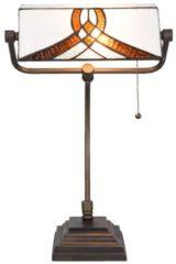 Witte Clayre & Eef LumiLamp Bureaulamp Bankierslamp Tiffany 5LL-5195 31*30*52 cm / E27 / Max. 1x60 Watt - Bruin Glas in lood Tafellamp