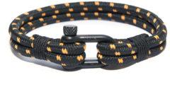 Zwarte Frank 1967 7FB-0140 - Geweven nylon heren armband - met stalen element - one-size - zwart / oranje