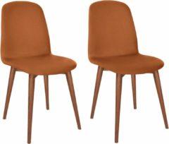 Andas Lederstuhl 2er-Set »Basic Classic«, Beine walnut, im nordischen Design