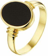 Goudkleurige Huiscollectie Geelgouden Zegelring massief onyx 15.50 mm (49)