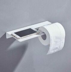 CoshX® Toiletrolhouder met legplankje / telefoonplankje - Handoekrekje met plankje in 1 wit