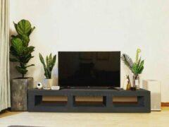 Zwarte Betonlook TV-Meubel open vakken | Black Steel | 180x40x40 cm (LxBxH) | Betonlook Fabriek | Beton ciré
