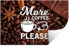 StickerSnake Muursticker Koffie Quotes 2 - Koffie quote 'More coffee please' tegen een achtergrond van koffiebonen - 60x40 cm - zelfklevend plakfolie - herpositioneerbare muur sticker