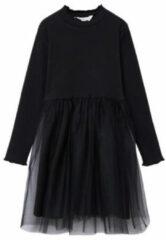 Zwarte MANGO Boston ribgebreide midi jurk met tule