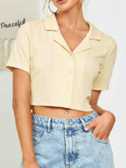 Beige Newchic Solid Color Button Crop Top
