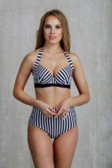 MILENKA wit-blauwe hoge taille bikini slip M (valt 1 maat kleiner)