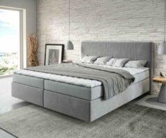 DELIFE Bed Deam-Well grijs 180x200 cm met matras en topper Boxspring-bed