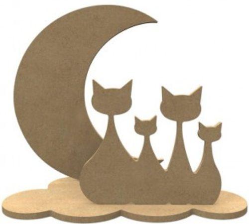 Afbeelding van Naturelkleurige Gomille MDF Figuren Katten Set 24x20 cm