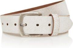 Timbelt 4cm jeans riem van crack leder - 100% leer - wit - Maat 115 - Totale lengte riem 130 cm