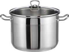 Roestvrijstalen Haushalt Soeppan 10 liter- RVS - Met glazen deksel