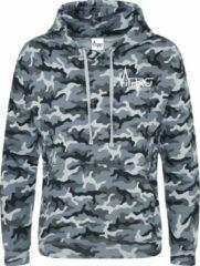 FitProWear Camouflage Hoodie Grijs - Maat XXL / 2XL - Unisex - Trui - Hoodie - Sweater - Sporttrui - Trui met capuchon - Camouflage trui - Katoen/Polyester - Trui mannen - Trui vrouwen - Grijze trui