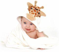 Donkerbruine MijnNami Bamboe Badcape Giraffe – dikte 600 gsm - Organisch – Extra Zacht – Extra Groot 90x90 – Eco-Vriendelijk