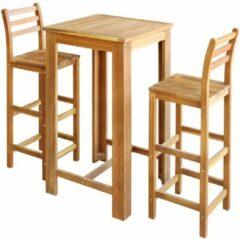Bruine VidaXL Bartafel- en stoelenset massief acaciahout 3-delig