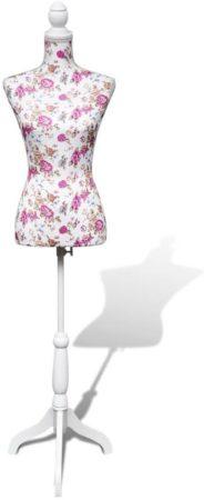 Afbeelding van Roze VidaXL - Paspop Vrouwen torso paspop katoen wit met rosen