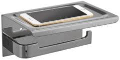 Roestvrijstalen Toiletrolhouder met Telefoonplankje Best Design 18x12 cm RVS Geborsteld (zonder telefoon)