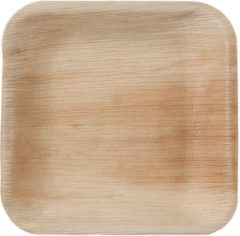 Beige Natural Tableware Hampi palmblad wegwerp borden - Jeeva Square (17 cm) - 25 Stuks