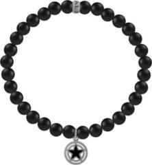 Kaliber 7KB-0011L - Heren armband met stalen elementen - ster - mat Agaat natuursteen 6 mm - maat L (20 cm) - zwart / zilverkleurig