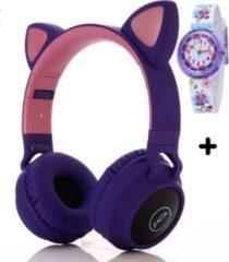 ZaCia Bluetooth Draadloze On-Ear Koptelefoon voor Kinderen Paars Incl. educatief kinderhorloge - Kattenoortjes - Kinder Hoofdtelefoon - Microfoon - HiFi Stereo Audio - Handsfree - Gehoorbescherming - Schakelbare LED-verlichting - Noise Cancelling