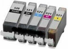 Cyane KUPRI - inktcartridges voor Canon PGI-520XL / CLI-521XL | Multipack van 5 inktcartridges voor Pixma iP3600, IP4600, IP4700, MP540, MP5410, MP550, MP560, MP620, MP630, MP640, MP980, MP990, MX860, MX870