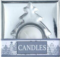 Zilveren Lupine Set van 3 glazen waxinelichtjes houder in Helder Glas