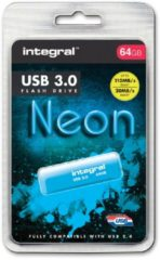 Blauwe Integral Neon USB3.0 64GB 64GB USB 3.0 (3.1 Gen 1) USB-Type-A-aansluiting Blauw USB flash drive