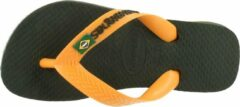 Havaianas Brasil Logo Unisex Slippers - groen Olive/Vibrant Orange - Maat 29/30
