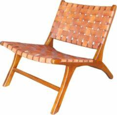 Naturelkleurige Perfecthomeshop Lounge stoel bruin 68x60 cm – Vintage – Natuurlijke Cognackleur