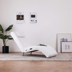 VidaXL Massage chaise longue met kussen kunstleer wit
