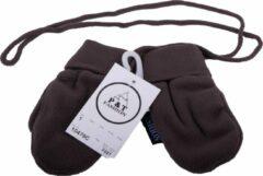 Donkerbruine P&T Wanten Baby met Touwtje - Micro Fleece - 0-1j - Donker Bruin