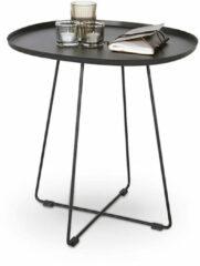 Ronde Koffietafel – Rond Bijzettafeltje – Zwart – Gecoat Staal – Modern Design – Scandinavische Look – 51x42x50cm