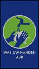 Blauwe MatStyles Vloerkleed Tapijt Message Mat - Was uw Handen AUB - 150x85 - COVID-19 - Wasbaar