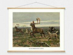 Witte Wallchart unlimited Schoolplaat 'In de Siberische vlakte' van M.A. Koekkoek