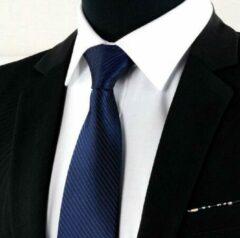 Donkerblauwe Trendy Gents Luxe Gestreepte Heren Stropdas Donker Blauw