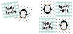Witte Ootje Kadootje OK 8303 Servetten Gender reveal Hello Lovely Pinguin