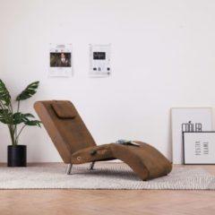 VidaXL Massage chaise longue met kussen kunstsuède bruin