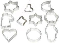 Zilveren Zenker Koekjes vormen - Bakvorm - Uitstekers - Uitsteekvormen- set - 10st