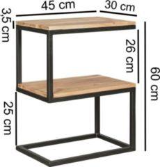 Wohnling Beistelltisch AKOLA S-Form Massiv-Holz Akazie / Metall 45 x 60 x 30 cm Design Wohnzimmertisch Landhaus-Stil Anstelltisch Ablagetisch eckig