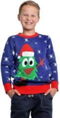 Merkloos / Sans marque Blauwe kerst trui met kerstboom voor kinderen 7/8 jaar (128/134)