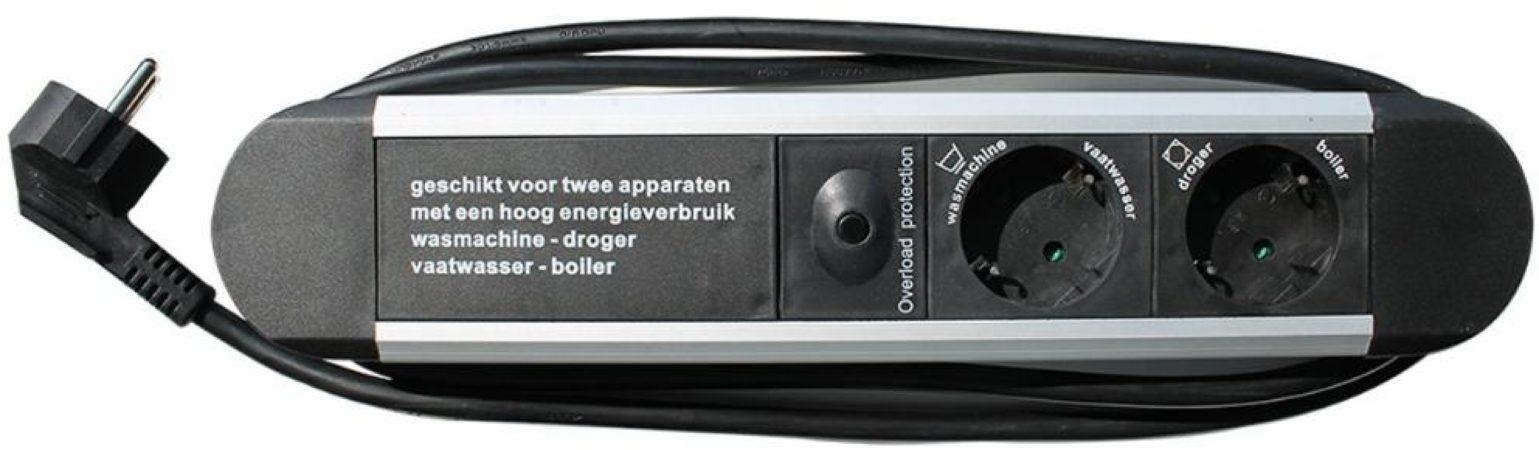 Afbeelding van Interbär Powersafe was/droog contactdoos energieverdeler Schakelt droger uit al