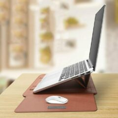 The Shape Label™ - Multifunctionele Laptop Standaard / Leren Laptoptas   Notebook standaard - Hoes Voor 13/14 inch Laptop   Bruin Leer