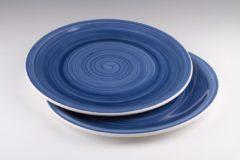 Dudson - Brasserie - Handbeschilderd - Plat bord 32cm - Blauw - set á 2